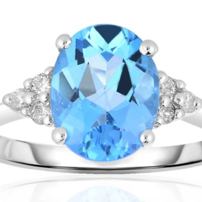 December Birthstone Blue Topaz Jewelry: Blue Topaz Belk & Co. 10k White Gold Blue Topaz and Diamond Ring