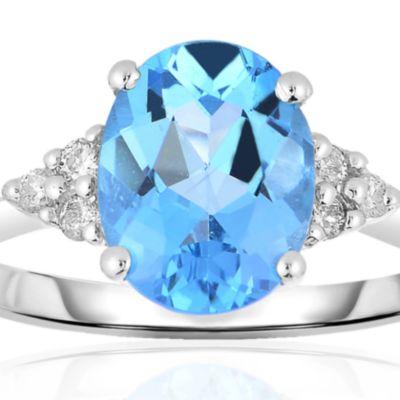 December Birthstone Blue Topaz Jewelry: Blue Belk & Co. 10k White Gold Blue Topaz and Diamond Ring