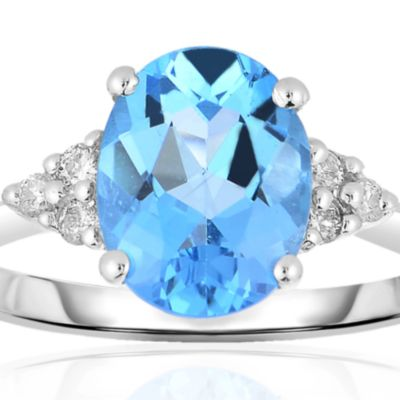 December Birthstone Blue Topaz Jewelry: Blue Belk & Co. 10k White Gold Blue Topaz and Diamond Ring