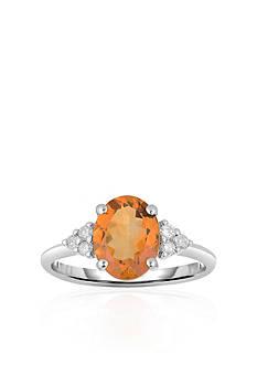 Belk & Co. 10k White Gold Citrine and Diamond Ring