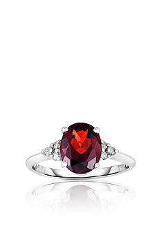 Belk & Co. 10k White Gold Garnet and Diamond Ring