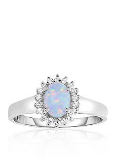 Belk & Co. Created Opal and White Topaz Ring in 10k White Gold
