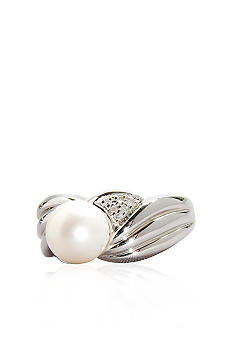 Belk & Co. Sterling Silver Freshwater Pearl and Diamond Ridged Ring