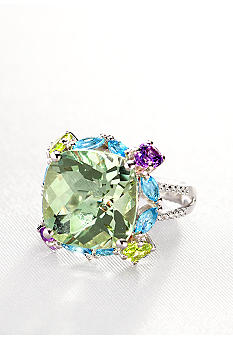 Belk & Co. Sterling Silver Green Amethyst Multi Color Semi Precious Ring