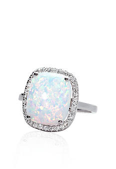 Belk & Co. 10k White Gold Created Opal and Diamond Ring
