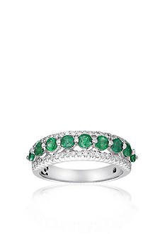 Belk & Co. 10k White Gold Emerald and Diamond Ring
