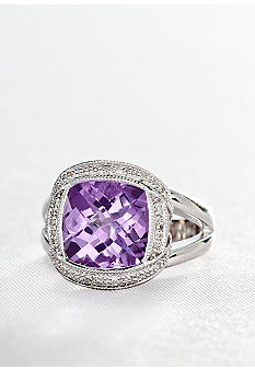 Belk & Co. Sterling Silver Pink Amethyst and Diamond Ring