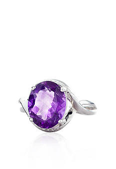 Belk & Co. Sterling Silver Oval Amethyst and Diamond Ring