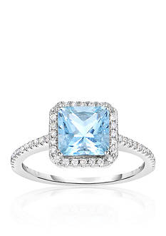 Belk & Co. Aquamarine and Diamond Ring in 10k White Gold