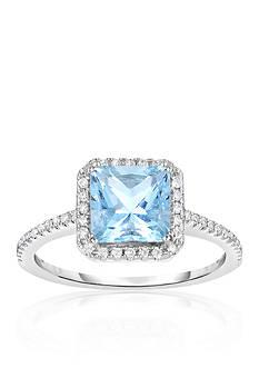 Belk & Co. Aquamarine and Diamond Ring in 10k White Gold
