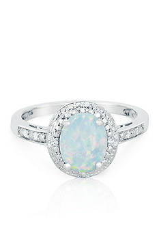 Belk & Co. Sterling Silver Created Opal and Diamond Ring