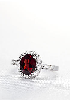 Belk & Co. Sterling Silver Garnet and Diamond Ring