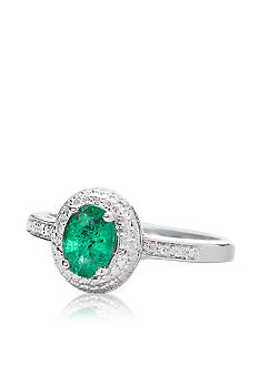 Belk & Co. Sterling Silver Emerald and Diamond Ring