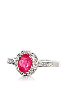 Belk & Co. Sterling Silver Ruby and Diamond Ring