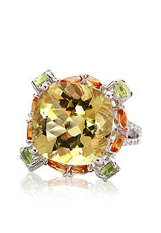 Belk & Co. Sterling Silver Lemon Quartz Multi-Color and Diamond Ring