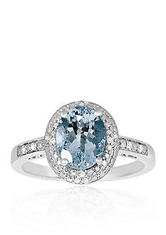 Belk & Co. Sterling Silver Aquamarine Diamond Ring