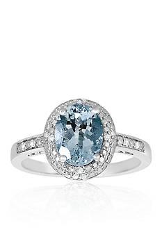 Belk & Co. Sterling Silver Aquamarine Diamond Ring
