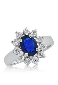 Belk & Co. Sterling Silver Sapphire & Diamond Ring