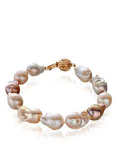 Belk & Co. 14k Yellow Gold Multi Color Freshwater Pearl Bracelet