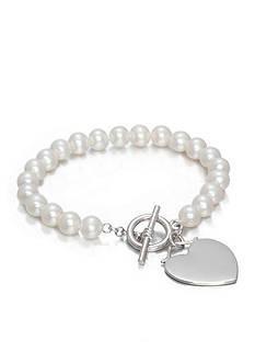 Belk & Co. Sterling Silver Freshwater Pearl Heart Bracelet