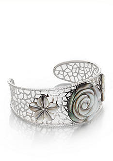 Belk & Co. Sterling Silver Black Mother of Pearl Flower Cuff