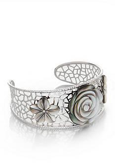 Belk & Co. Sterling Silver Black Mother of Pearl Flower Cuff