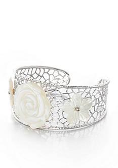 Belk & Co. Sterling Silver White Mother of Pearl Flower Bracelet
