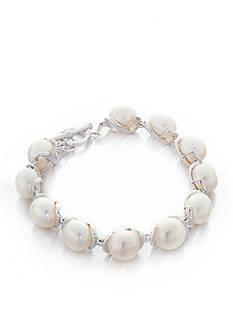 Belk & Co. White Freshwater Pearl Bracelet in Sterling Silver