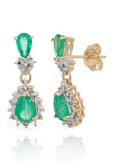 Belk & Co. Emerald and Diamond Earrings in 14k Yellow Gold