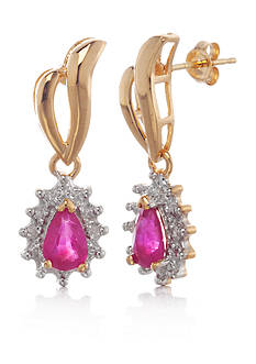 Belk & Co. 14k Yellow Gold Ruby and Diamond Earrings