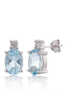 Belk & Co. Aquamarine and Diamond Earrings in 14k White Gold