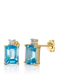 Belk & Co. 14k Yellow Gold Blue Topaz and Diamond Earrings
