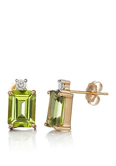 Belk & Co. 14k Yellow Gold Peridot and Diamond Earrings