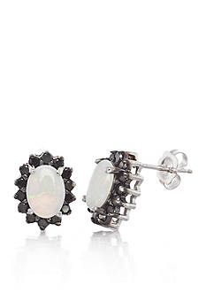 Belk & Co. 14k White Gold Opal and Black Diamond Earrings