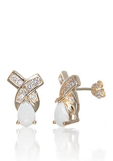 Belk & Co. Opal and Diamond Earrings in 14k Yellow Gold