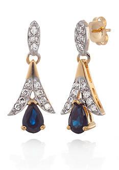 Belk & Co. 14k Yellow Gold Sapphire and Diamond Earrings