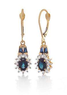 Belk & Co. 14k Yellow Gold Sapphire and Diamond Earrings