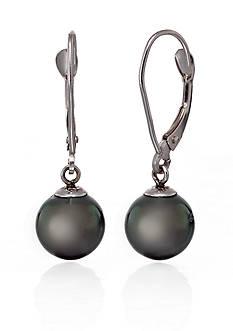 Belk & Co. 14k White Gold Black Tahitian Pearl Earrings