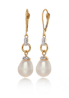 Belk & Co. 14k Yellow Gold Freshwater Pearl and Diamond Earrings