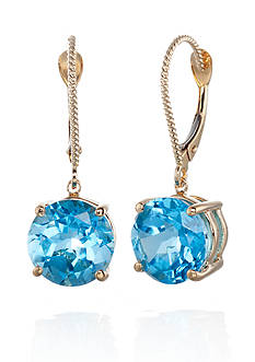 Belk & Co. 14k Yellow Gold Blue Topaz Earrings
