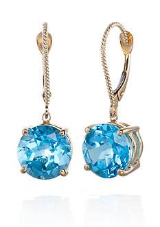 Belk & Co. 14k Yellow Gold Blue Topaz Earrings