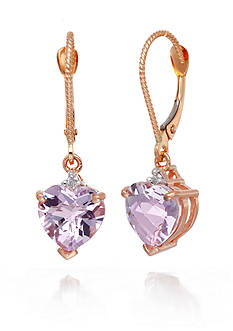Belk & Co. Pink Amethyst and Diamond Accent Earrings in 14k Rose Gold