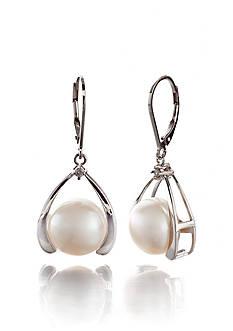 Belk & Co. Sterling Silver Freshwater Pearl and Diamond Earrings