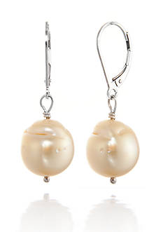 Belk & Co. Golden South Sea Baroque Pearl Dangle Earrings in Sterling Silver