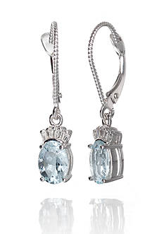 Belk & Co. Aquamarine and Diamond Earrings in 14k White Gold