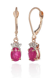 Belk & Co. 14k Rose Gold Ruby and Diamond Earrings