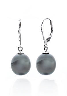 Belk & Co. 14k White Gold Black Tahitian Pearl Earrings