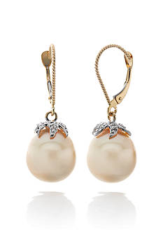 Belk & Co. 14k Yellow Gold Golden South Sea Pearl and Diamond Earrings