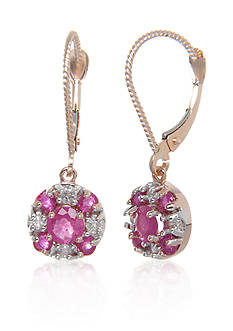 Belk & Co. Ruby and Diamond Earrings in 14k Rose Gold