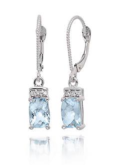 Belk & Co. Aquamarine Gemstones & Diamonds Earrings Set in 14K White Gold